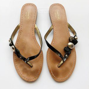 Coach Oceanna Sandals in Black Patent Leather